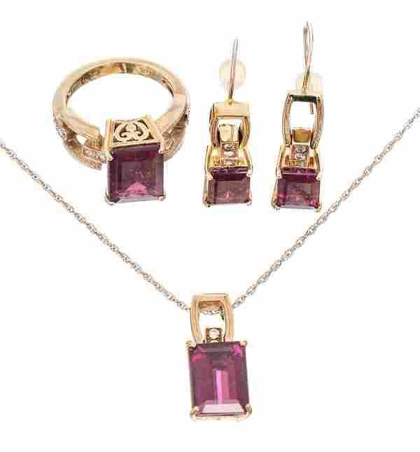 Amethyst Diamond 14k White Gold Jewelry Suite