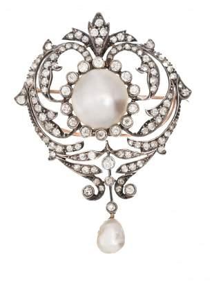 Victorian Diamond Pearl 10k Gold Heart Brooch