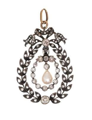 Victorian Rose Cut Diamond Pearl 14k Gold Pendant