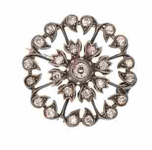 Victorian Rose Cut Diamond Flower 10k Gold Brooch