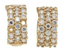 Diamond 14k Gold Huggie Hoop Earrings