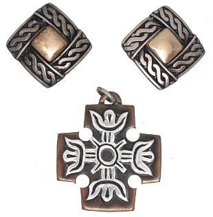 James Avery Sterling 14k Gold Earrings & Cross Pendant