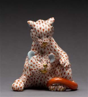 Herend Fishnet Lion Cubs Figurine