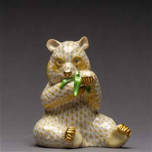 Herend Fishnet Panda Figurine