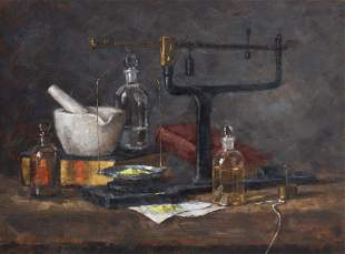 "Laura Robb (b. 1955), ""Apothecary"", 1978, Oil On Panel,"