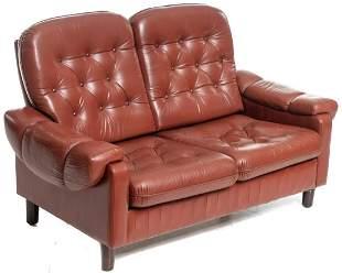 Danish Mid-Century Button Back Leather Sofa