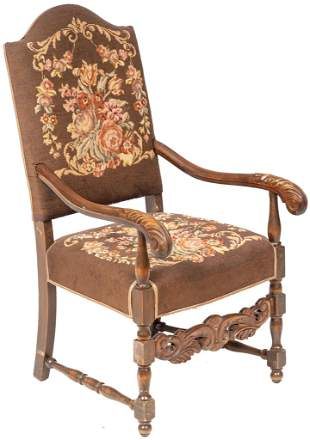 French Needlepoint Fauteuil Chair