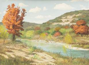Manuel Garza (b. 1940), Autumn on the River, 1970