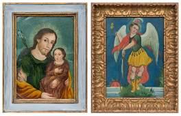 Pair of tin retablos, Saint Joseph and Archangel