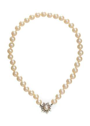 Pearl 14k Gold Diamond Necklace
