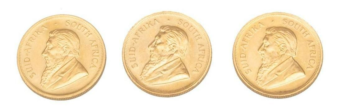 Lot of 3 South African Krugerrand 1oz. Gold Coins