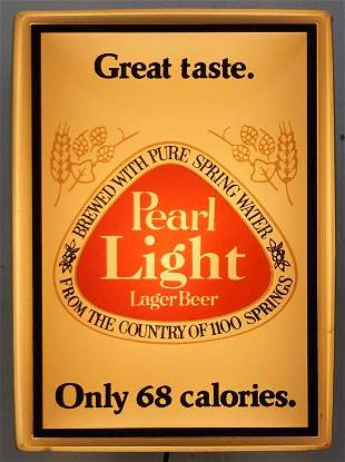 Pearl Light Beer Light Up Bar Sign