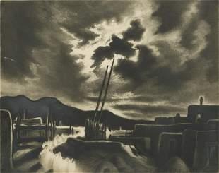 """Gene Kloss (1903-1996), """"Moonlit Kiva"""""""