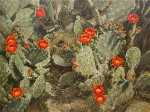 Helen Hunter (1920-2003), Blooming Cactus, 1985
