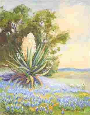 Santa Duran (1909-2002), Yucca and Bluebonnets