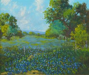 Carl Hoppe (1897-1981), Bluebonnets near Camp Wood, TX,