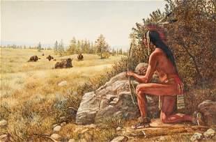 """Hubert Wackermann (b. 1945), """"Buffalo Hunter"""", 1981"""