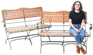 Pair of Vintage Wooden Garden Benches