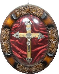 Vintage Crucifix in Arched Glass Nicho