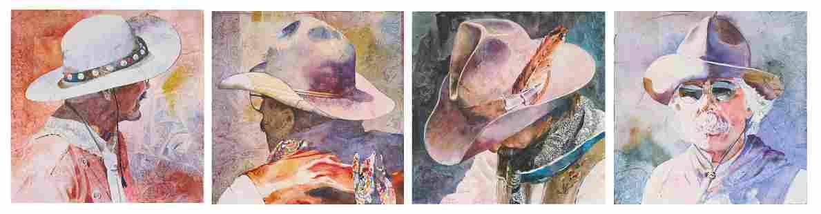 """Linda Loeschen (b. 1941), """"Hat Portrait Series"""""""