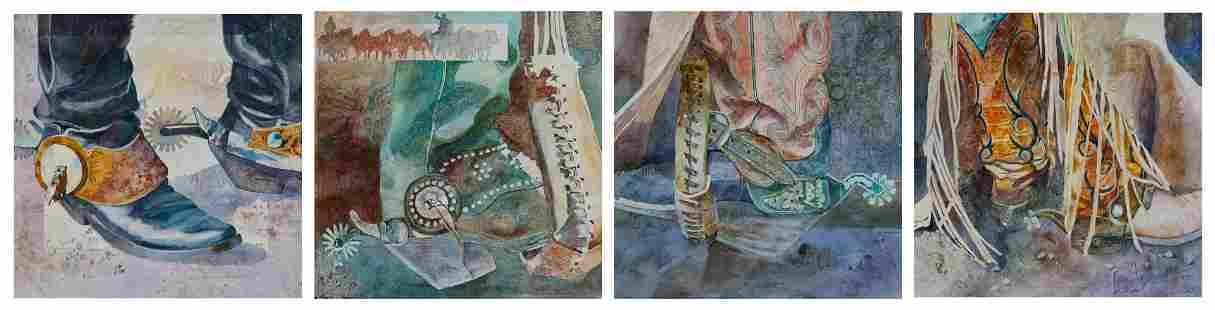 Linda Loeschen (b. 1941), quadtych of cowboy boots