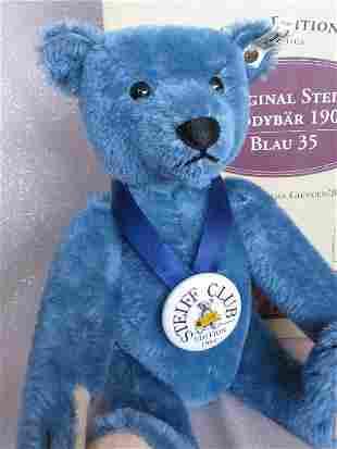 Boxed Steiff Club Bear blue mohair 35cm 1994. Blue