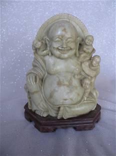 "China Soapstone ""Laughing Buddha"" with five children"