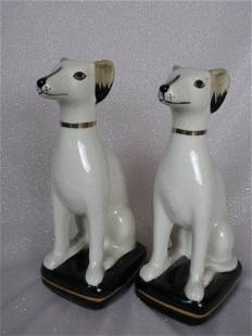 Pair of Staffordshire Style Greyhounds 21cm. Hollow