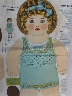 """Rare Dean's Rag Book Co 1911 """"Betty Blue"""" 59cm tall"""