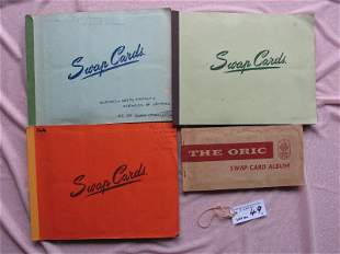 Four 50-60 s Playing Card Albums with 350+ cards:-