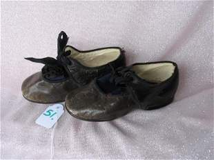 Pair of 1880s child shoes. Very good black to rounded