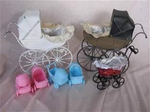 Twenty toy doll dollhouse prams/furniture, includes