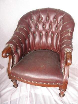 Mixed Furniture:- Antique Child button-back leather