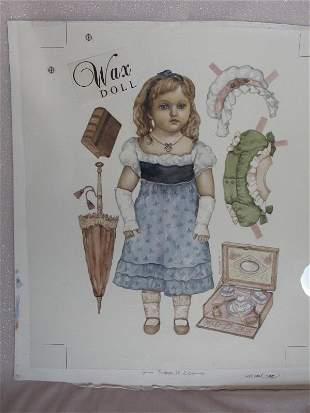 Rare Original Artist Proof 'Paper Dolls' watercolor