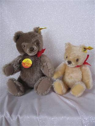 Two Steiff 'Masked bears', brown mohair 26cm and