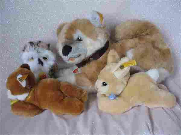 Four plush Steiff Animals 1990s:- 31cm long Akita dog,
