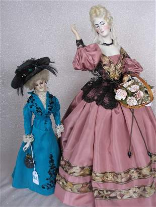 Two German Wax over plaster turned head dolls on
