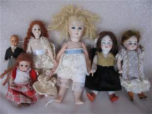 Seven Cabinet dolls include vintage/reproduction:-