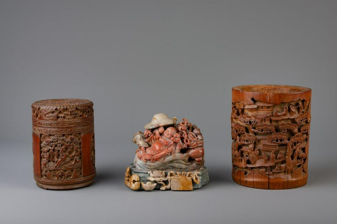 Two Chinese carved bamboo brush pots and a soapstone