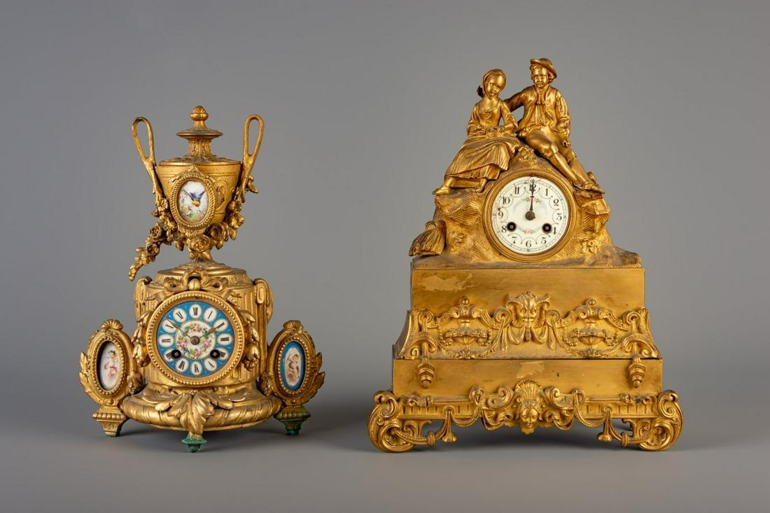 A gilt bronze Romanticism mantel clock and a