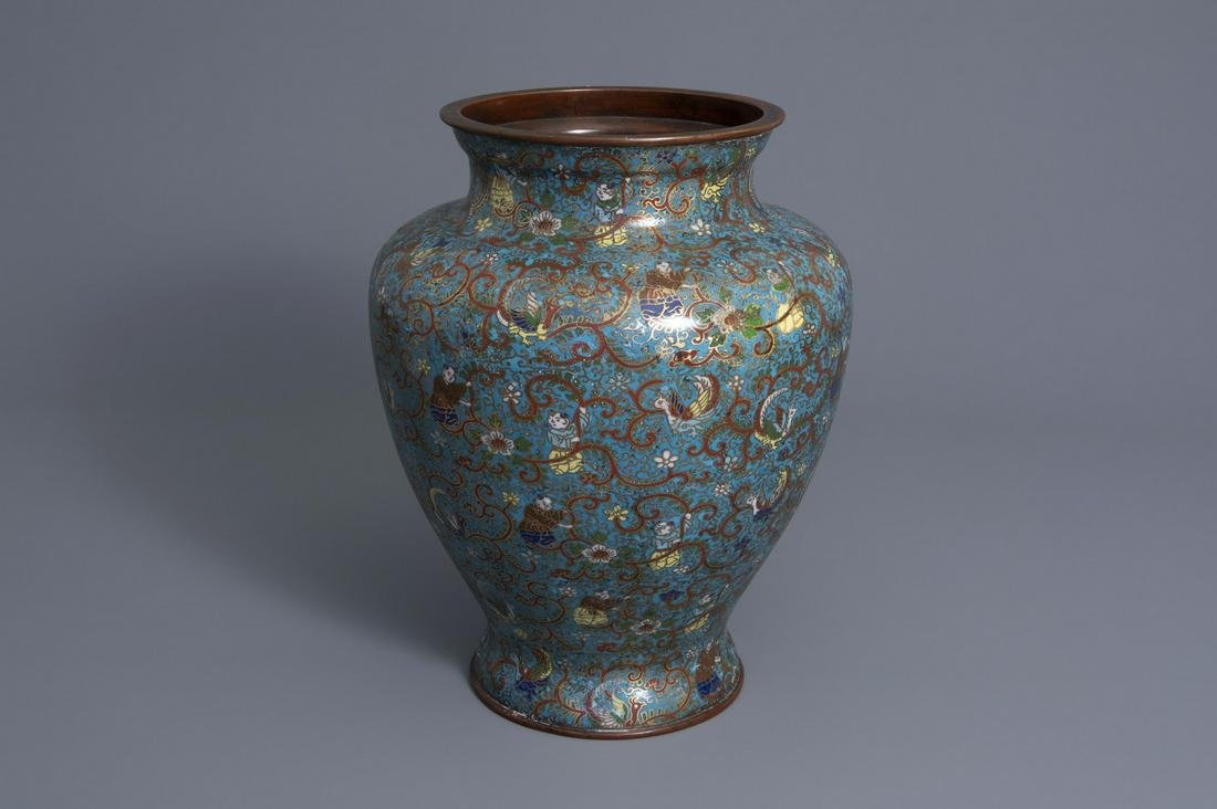 A Chinese cloisonné vase with phoenixes and figures