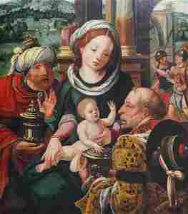 Flemish school: Adoration of the magi, oil on panel,