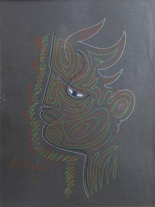 Jean Cocteau (1889-1963): Forest god in profile, chalk