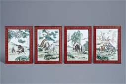 Four rectangular Chinese polychrome Horses of Wang Mu