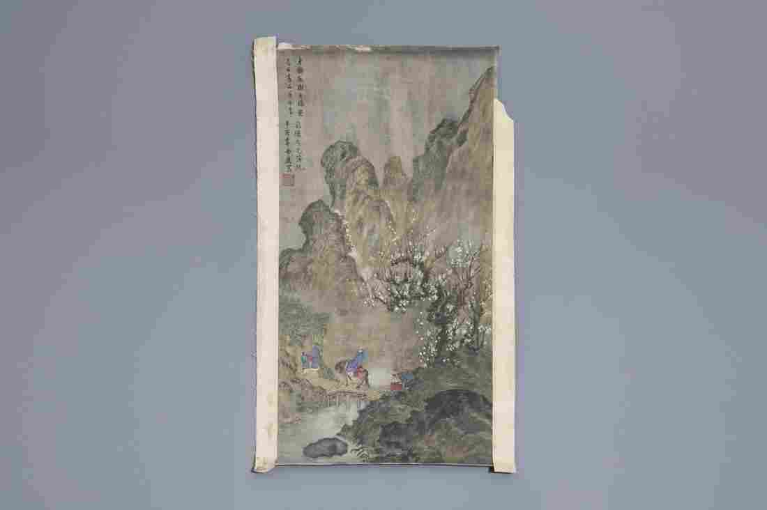 Chinese school, ink and colour on paper, 18th/19th C.: