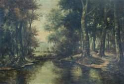 Raoul Delbove (19th/20th C.): Animated landscape, oil