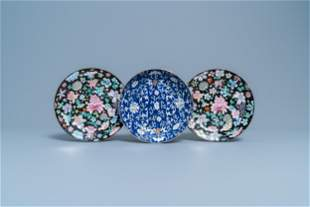 A pair of Chinese famille rose 'millefleurs' plates and
