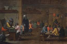 Flemish school: Singerie scene with monkeys, oil on