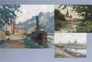 Belgian school: Three views on the Meuse, oil on panel