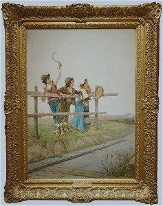 CHILDERN NEAR THE TRACKS (Filippo indoni Jr. 19th c.